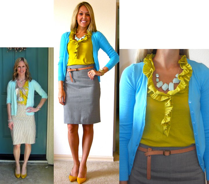 Occasion: Work   Inspiration photo: Found in my Closet   Cardigan: H&M, $18 (recent)   Shirt: J.Crew, $25   Belt: Gap, $10   Skirt: Banana Republic, $40   Shoes: Bandolino via TJ Maxx, $25 (similar:  http://tinyurl.com/3uleyza  )   Necklace: Charlotte Russe, $9