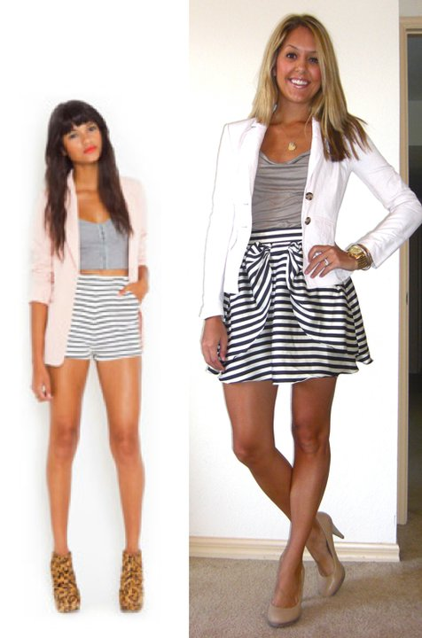 Inspiration photo: Nasty Gal   Pink blazer: Banana Republic, $35   Shirt: Banana Republic, $18   Navy skirt: H&M, $30 (similar:  http://tinyurl.com/3r8p5c9  )   Shoes: Banana Republic, $22 (similar:  http://tinyurl.com/3mv2hlp   AND similar:  http://tinyurl.com/4xexgbc  )   Necklace: Stella & Dot (similar:  http://tinyurl.com/3pupz3h  )   Watch: Michael Kors, family gift (  http://amzn.to/p3tIQV  )   Bracelets: Forever 21, $8