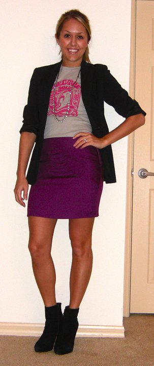 T-shirt: c/o Uhma Limited, $29.99 (  http://uhmastyle.com/womens/tshirts/electric-soul.html  )   Blazer: Express   Necklace: LOFT, $15   Skirt: Forever 21, $16 (  http://tinyurl.com/36stw4p  )   Boots: Cynthia Rowley/TJ Maxx, $85