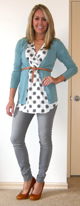 Shirt: The Unique Closet, $36.50   Cardigan: Banana Republic, $35   Belt: Gap, $10   Jeans: Gap, $30   Shoes: Restricted/Endless.com, $39    Just like J:   Unique Closet shirt, $36.50   http://www.theuniquecloset.com/catalog/connect-dots-p-131.html   Gap cardigan in Dew Drop, $39.50   http://www.gap.com/browse/product.do?cid=8993&vid=1&pid=802761   Lands End gray jeans, $23.99   http://canvas.landsend.com/pp/GraySuperSlimJeans-80424_212450_-1.html?cm_mmc=Froogle-_-null-_-Canvas-_-data_feed   Restricted pumps, $34.99   http://www.sears.com/shc/s/p_10153_12605_05457098000P?prdNo=12&blockNo=12&blockType=G12