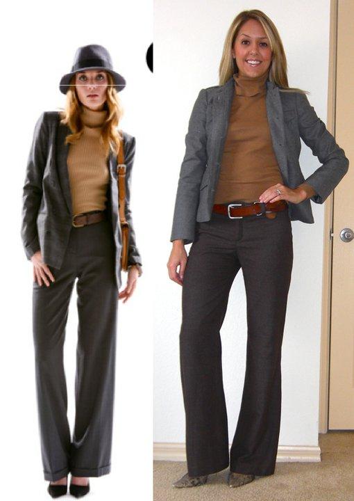 Occasion: Work   Photo left: Shopbop.com  Blazer: Banana Republic, $75 Turtleneck: H&M Pants: Banana Republic, $50 Belt: American Eagle/Filene's Basement, $5 Pumps: Boutique 9, $75