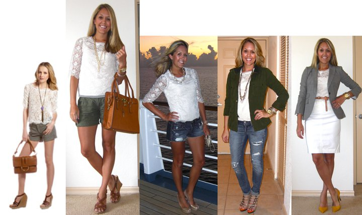 Inspiration photo: Neiman Marcus Cusp   Shirt: Forever 21, $18 (similar:  http://tinyurl.com/3t8qeho     http://tinyurl.com/3hwpnto  http://tinyurl.com/3bw97de  )   Shorts: Forever 21, $20   Shoes: Guess via DSW, $20   Necklace: Stella & Dot (  http://tinyurl.com/3hspvkt  )   Charm: Stella & Dot (  http://tinyurl.com/42v8c8o  )   Bag: c/o It's in the Bag, $79 (  http://tinyurl.com/3wdqh8m  )   Watch: Michael Kors, family gift (  http://amzn.to/p3tIQV  )
