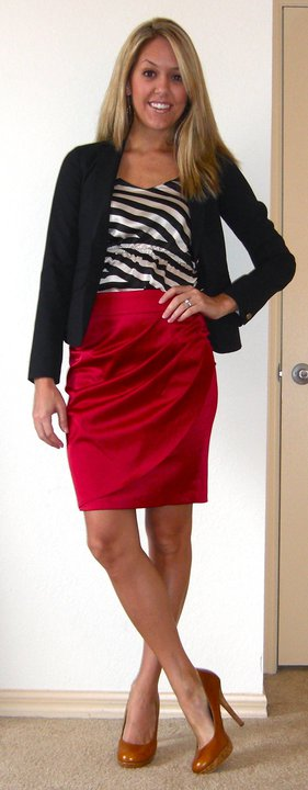Navy blazer: Gap, $70   Shirt: TJ Maxx, $15   Skirt: The Unique Closet, $39.50   Shoes: Restricted/Endless.com, $39    Just like J:   Unique Closet skirt, $39.50   http://www.theuniquecloset.com/catalog/pleated-satin-skirt-p-60.html   Restricted pumps, $34.99   http://www.sears.com/shc/s/p_10153_12605_05457098000P?prdNo=12&blockNo=12&blockType=G12   Gap blazer, $98   http://www.gap.com/browse/product.do?cid=51452&vid=1&pid=814294
