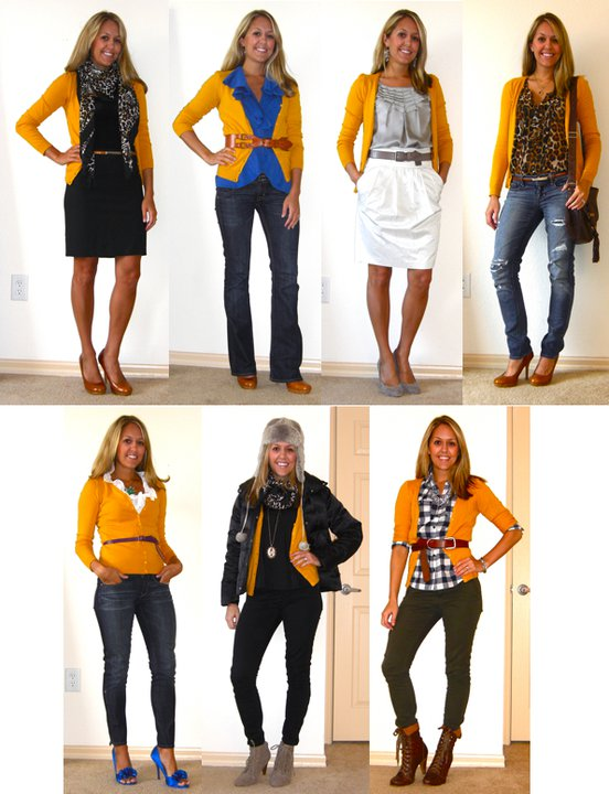 This week's Flashback Friday is featuring one of my favorite items in my closet right now - the mustard cardigan! Who knew a cardigan this colorful could be so versatile? It's equally at home in a girlie look, an office look, and a winter look!