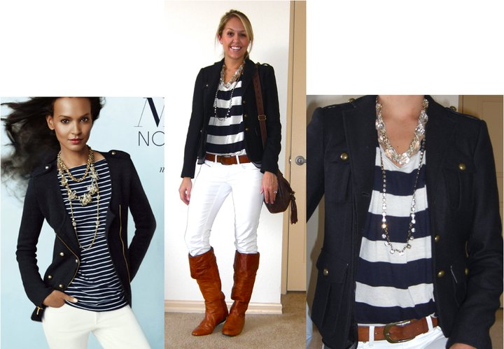 Occasion: Church and grocery shopping   Photo left:   AnnTaylor.com   Wool jacket: LOFT, $50   Shirt: Forever 21, $18   Belt: H&M, $18   Jeans: Gap, $30   Boots: Bakers, $95   Short necklace: Banana Republic, $18   Long necklace: LOFT, $15   Purse: Juicy Couture/Neiman Marcus Last Call, $115