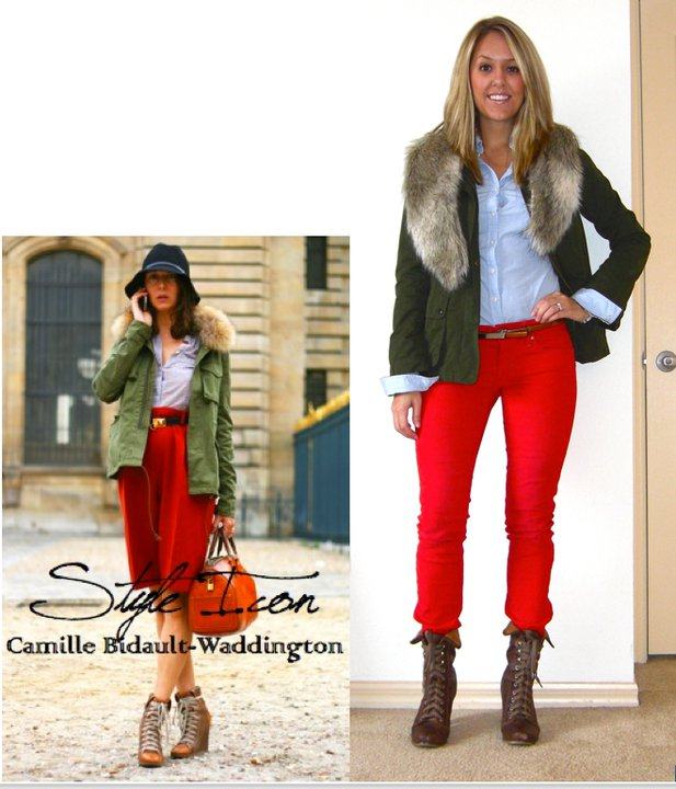 Pants: Gap, $17 (  http://www.gap.com/browse/product.do?cid=26642&vid=1&pid=768466  )   Jacket: Gap, $25   Shirt: Abercrombie, $20   Fur collar: H&M, $15   Belt: Limited, $15   Boots: Aldo, $75