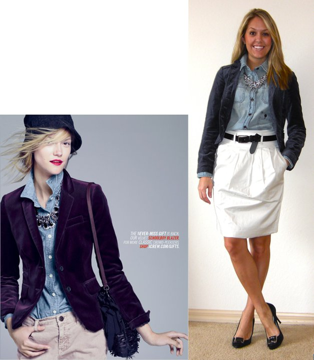 Occasion: Work   Photo left: J.Crew   Velvet blazer: H&M   Denim shirt: Gap, $14   Necklace: JcPenney, $20   Skirt: Banana Republic, $40   Belt: Express   Pumps: Calvin Klein/Filene's Basement, $70
