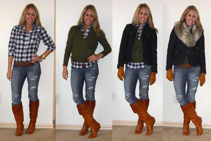 Shirt: Forever 21, $15   Belt: H&M   Jeans: American Eagle, $33   Boots: Bakers, $95   Sweater: J.Crew, $27   Coat: LOFT, $50   Gloves: Filene's Basement, $20   Fur collar: H&M, $15   Watch: Michael Kors, Christmas present
