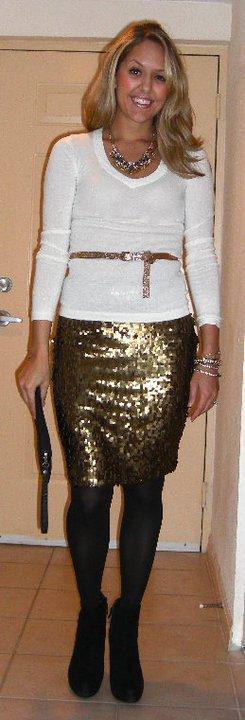 Occasion: Dinner date   Sweater: Gap Skirt: New York & Company, $25 Belt: New York & Company, $10 Necklace: Banana Republic, $20 Bracelets: Banana Republic, $10-15 Boots: Cynthia Rowley/TJ Maxx, $85
