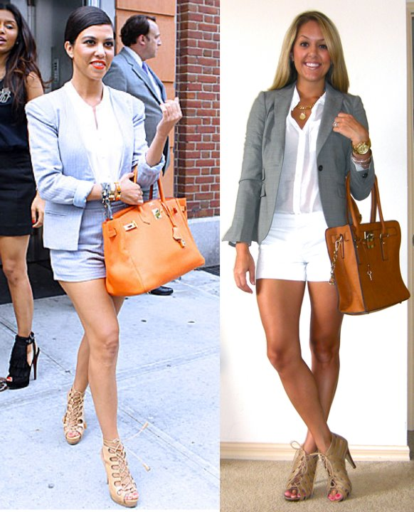 Inspiration photo: FabSugar   Blazer: Banana Republic, $75   Shirt: H&M, $13   Shorts: Gap, $22   Shoes: Chinese Laundry via Piperlime, $33 (  http://tinyurl.com/3jf7cuv  )   Purse: c/o It's in the Bag, $79 (  http://tinyurl.com/3wdqh8m  )   Necklace: c/o Catherine Nicole, $44 (  http://tinyurl.com/44nx3c7  )   Watch: Michael Kors, family gift (  http://amzn.to/p3tIQV  )