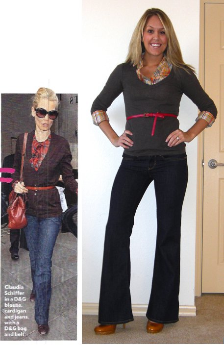 Photo left: People StyleWatch   Sweater: Gap   Shirt: Forever 21, $18   Belt: Forever 21, $5   Jeans: Gap, $15   Shoes: Restricted/Endless.com, $39