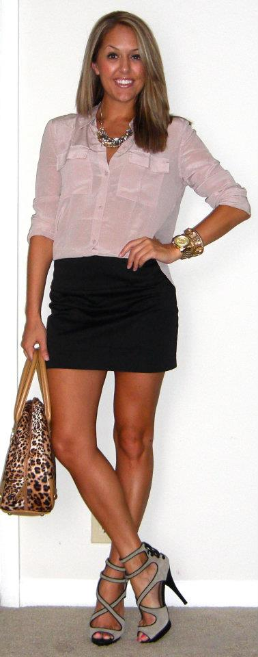Shirt: Moda c/o MJR Sales, $24  http://www.mjrsales.com/?ref=4   Skirt: Express, $5 (with coupon, last year)   Shoes: Colin Stuart c/o MJR Sales, $25   http://www.mjrsales.com/?ref=4   Purse: River Island, $60 (purchased in London)   Necklace: Banana Republic, $20   Bracelets: Banana Republic   Watch: Michael Kors, family gift