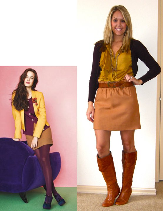 Photo left: Lucky magazine   Cardigan: Express, really old   Shirt: Gap, $30   Skirt: J.Crew, $45   Belt: H&M, $20   Boots: Bakers, $95   Necklace: Stella & Dot, c/o Lori McMinn (  http://www.stelladot.com/sites/lorimcminn/productcatalog?page=productdetail&sku=N134G  )