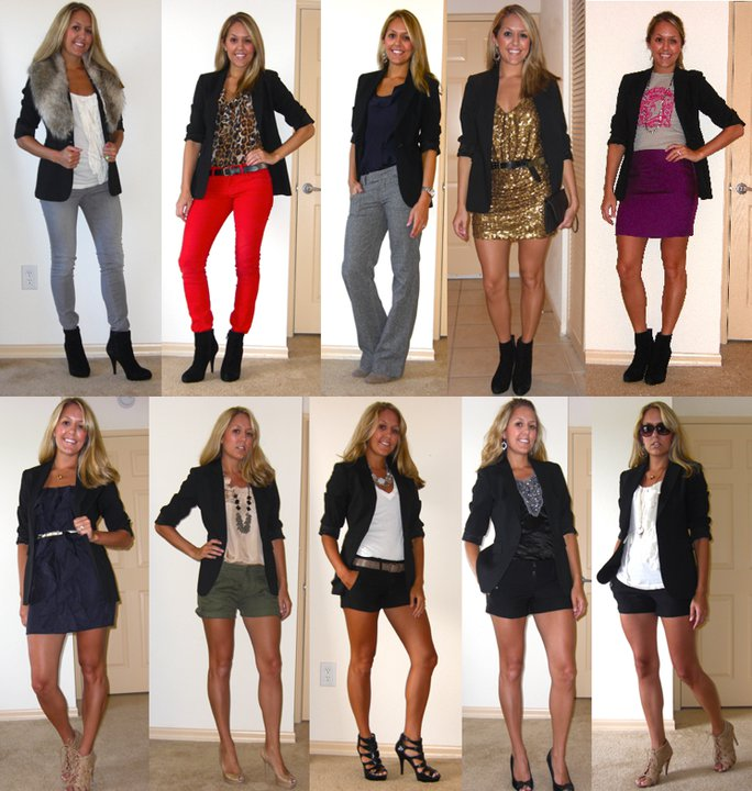 "Today I'm rolling out a new weekly feature called ""Flashback Friday"" where I show multiple ways I've worn the same item. Today's subject is a black boyfriend blazer I bought at Express more than 5 years ago, and here are 10(!) ways I wore it."