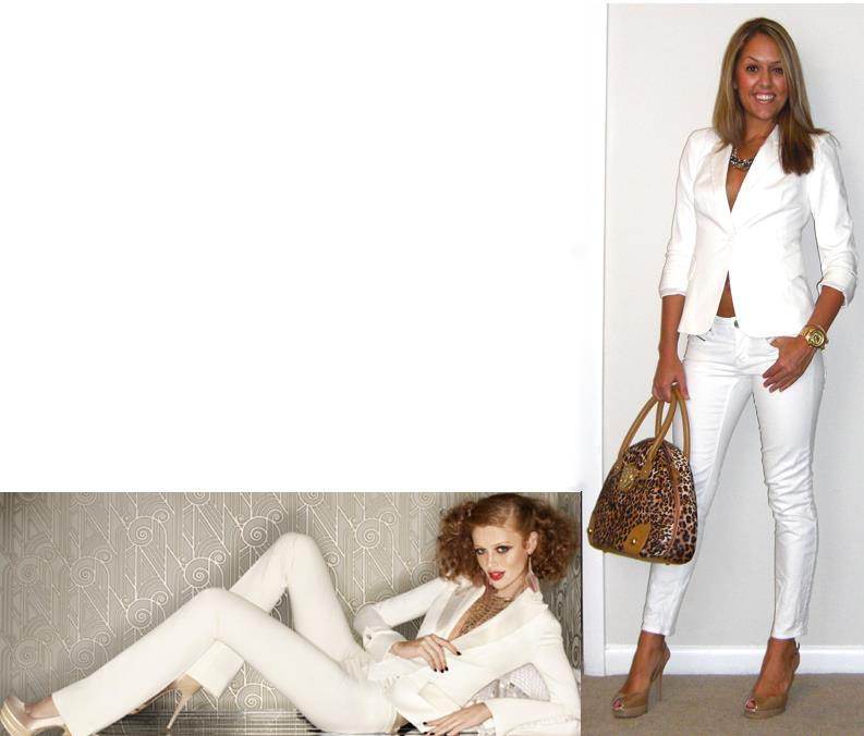 Inspiration photo: Bebe   Blazer: Victoria's Secret c/o MJR Sales, $35 (  http://tinyurl.com/3u68lvs   - they have 2 white ones in stock!)   Jeans: Gap, $30   Shoes: Guess via Marshalls, $30   Purse: River Island, $60-   http://tinyurl.com/5ujjvcj   Necklace: Banana Republic, $20   Watch: Michael Kors, family gift