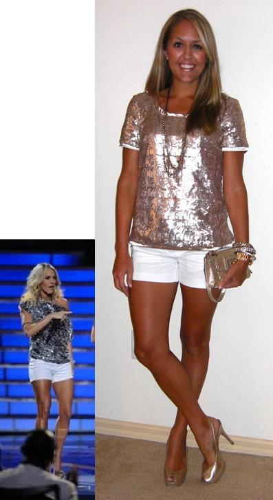 Occasion: Girl's night out   Inspiration photo: Carrie Underwood on American Idol (photo via Fox)   Shirt: c/o The Blue Door Boutique, $58   http://www.thebluedoorboutique.com/   Shorts: Gap, $22   Diamond necklace: LOFT, $20   Rose gold necklace: My Stella & Dot website  http://bit.ly/mTp6kA   Watch: Michael Kors, family gift   Bracelets: Forever 21, $10 and Banana Republic, $15   Shoes: Guess via Marshall's, $30