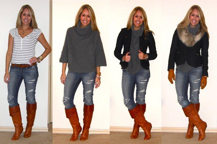 Shirt: H&M, $13   Belt: H&M   Jeans: American Eagle, $33   Boots: Bakers, $95   Sweater: Gap, $50   Coat: LOFT, $50   Gloves: Filene's Basement, $20   Fur collar: H&M, $15