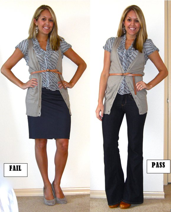 Occasion: I wore the look on the right to a Facebook coaching session with some small business owners earlier this week.   Sweater vest: Forever 21, $22   Shirt: Banana Republic, $15   Jeans: Gap, $15   Belt: Gap, $10   Earrings: Urban Outfitters, $5   Shoes: Restricted/Endless.com, $39