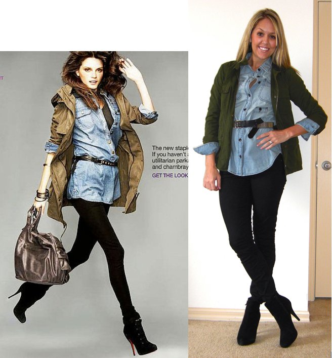 Photo left:   Gap.com   Shirt: Gap, $14   Jacket: Gap, $25 (Here's a link to a cute look-alike from Forever 21   http://tinyurl.com/5tlj7h6  )   Jeans: Gap, $35   Boots: Cynthia Rowley/TJ Maxx, $85   Belt: Forever 21, $8