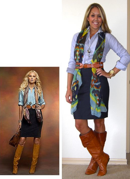 Inspiration photo: New York & Company   Shirt: Ralph Lauren Outlet, $20   Skirt: Limited, $25   Belt: Gap, $40   Scarf: c/o Happy Scarf,   http://tinyurl.com/3kyn7gy   Boots: Bakers, $90 (similar,   http://tinyurl.com/3labg64  )   Necklace: Westminister Abbey gift shop, $35   Watch: Michael Kors, family gift