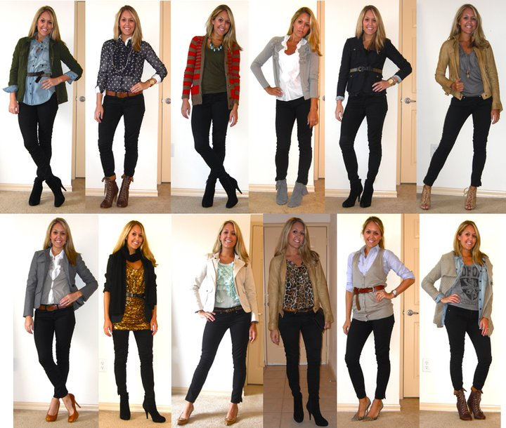 Today's Flashback Friday is going to blow your mind. Even I'm a bit shocked at how versatile black skinny jeans can be! They work with black shoes, brown shoes, gray shoes, nude shoes, leopard print, polka dots, denim shirts, gold sequins.... does it get any better than that? My other favorite thing about these jeans - you can hardly tell they are jeans. You could wear them to work and totally pull them off as dress pants. Go ahead, I won't tell. ;)