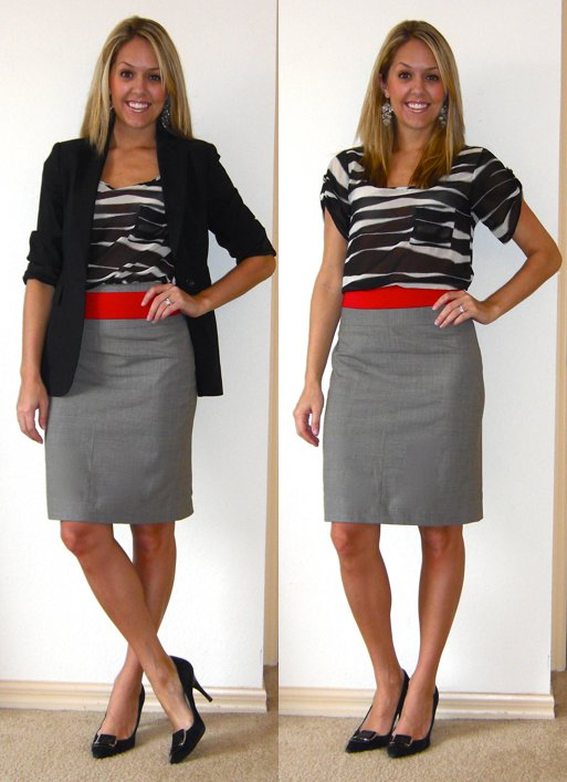 Occasion: Work   Blazer (left): Express   Shirt: TJ Maxx, $15   Skirt: Banana Republic, $40   Belt: Forever 21, $5   Shoes: Calvin Klein/Filene's Basement, $70   Earrings: Urban Outfitters, $5