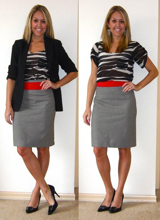 Occasion: Work   Blazer (left): Express   Shirt: TJ Maxx, $15   Skirt: Banana Republic, $40   Belt: Forever 21, $5   Shoes: Calvin Klein/Filene's Basement, $70   Earrings: Urban Outfitters, $5