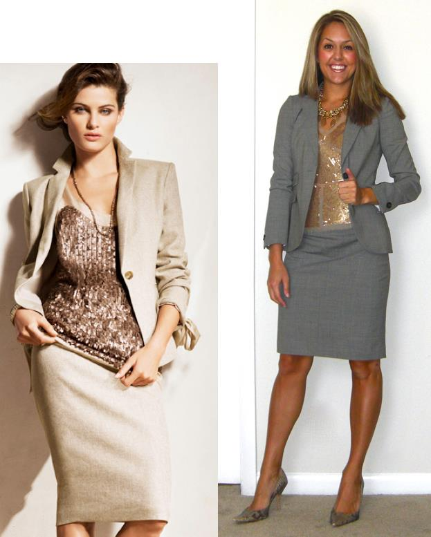 Inspiration photo: Ann Taylor   Suit jacket: Banana Republic, $75   Suit skirt: Banana Republic, $40   Shirt: Arden B, really old   Necklace: My Stella & Dot website  http://tinyurl.com/3qdv7v8   Shoes: Boutique 9, $70