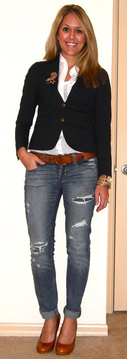 Occasion: Speaking engagement   Blazer: Gap, $70   Shirt: H&M, $13   Brooch: Banana Republic, $15   Belt: H&M, $20   Jeans: American Eagle, $33   Shoes: Restricted/Endless.com, $39   Watch: Michael Kors, Christmas present (  http://amzn.to/p3tIQV  )   Bracelets: Banana Republic, $10-15