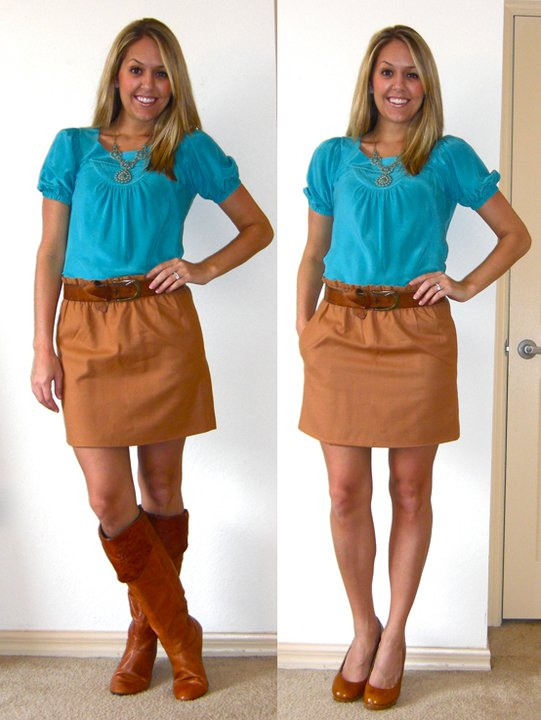 Shirt: Banana Republic, $20 (really old)   Skirt: J.Crew, $45   Belt: H&M, $20   Necklace: c/o Stella & Dot   Boots (left): Bakers, $95   Shoes (right): Restricted/Endless.com, $39