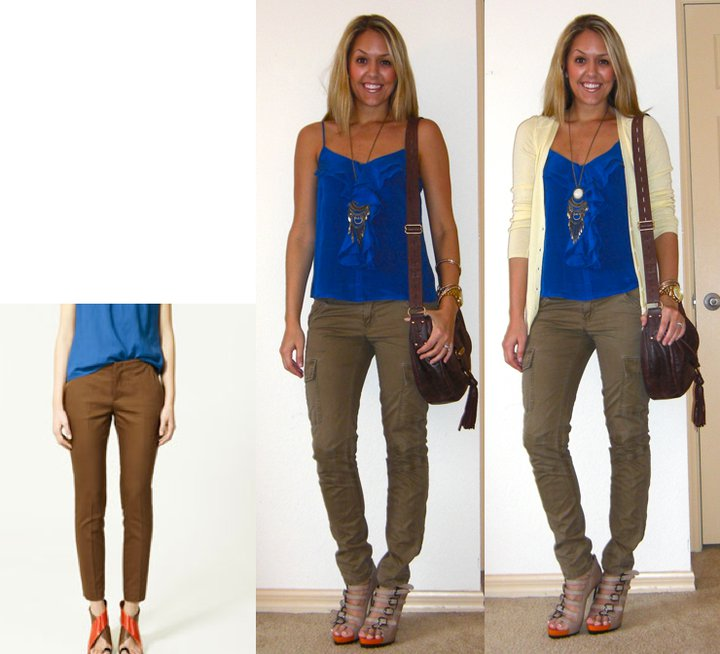 Inspiration photo:   Zara.com   Occasion: Dinner and drinks   Shirt: Forever 21, $18   Pants: TJ Maxx, $18   Necklace: H&M, $10   Shoes: Aldo, $50   Cardigan: Banana Republic, $14   Purse: Juicy Couture/Neiman Marcus Last Call, $115   Watch: Michael Kors, Christmas present   Bracelets: Forever 21, $8