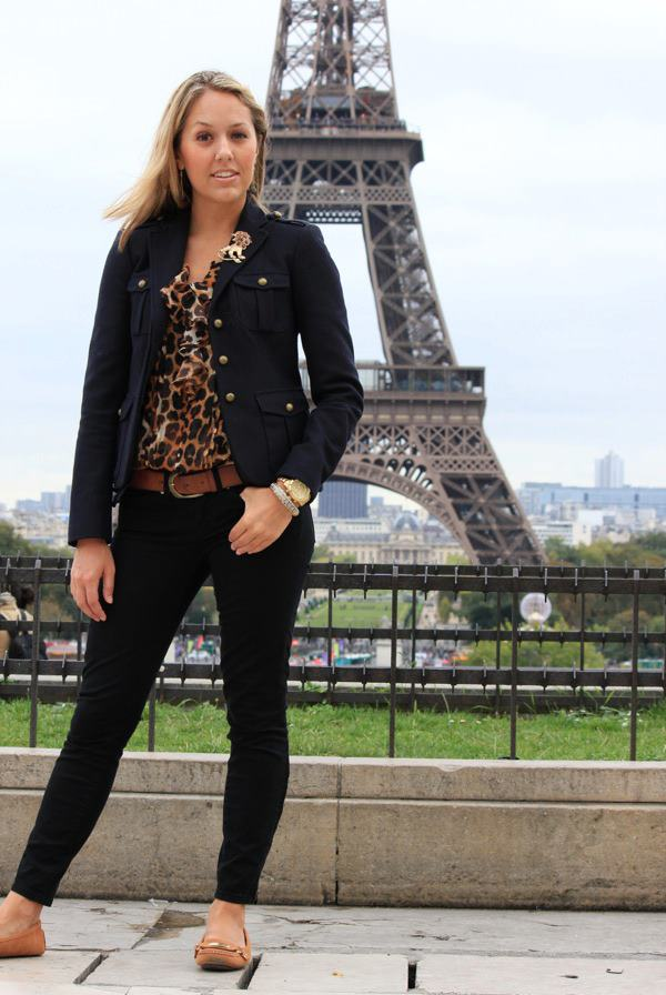 Occasion: Sightseeing in Paris   Navy Jacket: LOFT, $50   Brooch: Banana Republic, $20   Black Jeans: Gap, $35   Shirt: Express, $30   Belt: H&M, $20   Shoes: Michael Kors c/o Marshall's, $50   Watch: Michael Kors, family gift   Purse: c/o It's in the Bag, $79   Earrings: c/o Pop of Chic, $12