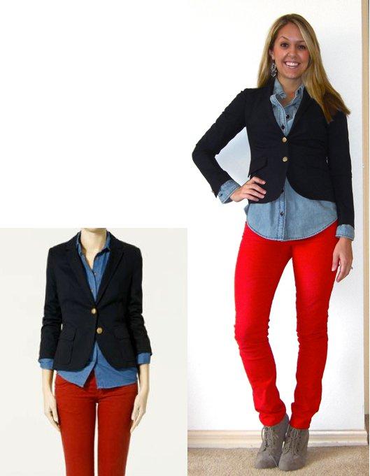 Inspiration photo:  Zara.com   Blazer: Gap, $70   Shirt: Gap, $14   Pants: Gap, $15   Boots: Forever 21, $33   Earrings: Urban Outfitters, $5