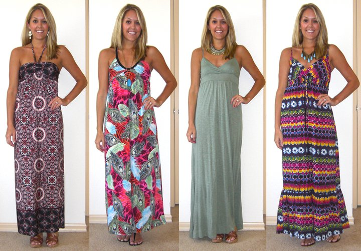 1. Dress: The Unique Closet, $42.50 (  http://tinyurl.com/5rclaxh  )   Shoes: Guess/DSW, $20 Earrings: Banana Republic, $20  2. Dress: The Unique Closet, $44 ( http://tinyurl.com/5wbls6l ) Flats: Macy's, $10 Necklace: Forever 21, $8  3. Dress: The Unique Closet, $34 ( http://tinyurl.com/65xeohq ) Shoes: Guess/DSW, $20 Necklace: Banana Republic, $40  4. Dress: The Unique Closet, $30 ( http://tinyurl.com/6235yud ) Sandals: Chinese Laundry/DSW, $27 Necklace: Aldo, $20  Disclaimer: These are not my clothes. I simply borrowed them for this blog post. I got to keep one - I chose dress #1 and am wearing it to church and the hubs soccer game today