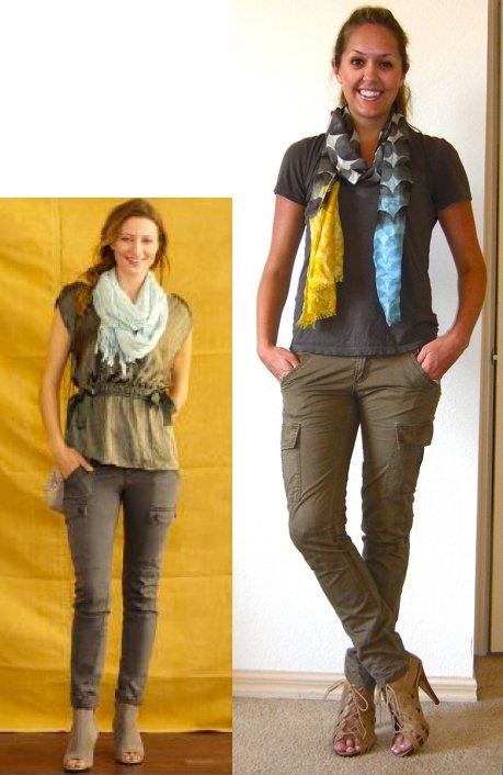 Inspiration photo: Banana   Republic.com   Shirt: Gap, $15   Cargos: TJ Maxx, $18   Scarf: Banana Republic, $30   Shoes: Chinese Laundry/Piperlime, $34