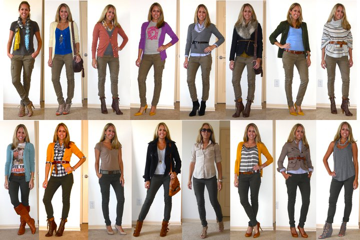 Check it out ladies... 17 ways to wear skinny cargo pants!! To be fair, these are actually two different pants. One is light khaki (top row) and the other is dark green (bottom row), but no matter what shade your cargos may be, any of these color combinations should work!    Styling tips: Shoes in all shapes and sizes work with these pants. Flat boots, lace-up boots, round pumps, pointy pumps, tie-up wedges. In colors like soft gray, cognac, black, dark brown, nude, and mustard yellow. Clearly the options are endless