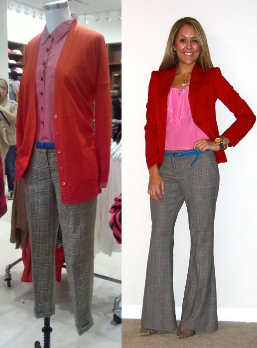 Inspiration photo: J.Crew mannequin, snapped with my phone   Blazer: Victoria's Secret c/o MJR Sales, $28 (  http://www.mjrsales.com/?ref=4  , search term: FAMOUS CATALOG STRONG SHOULDER BLAZER)   Shirt: Banana Republic, $30   Pants: Limited, really oldPants: Limited, really old   Belt: American Eagle, $15   Python shoes: Boutique 9, $70   Necklace: My Stella & Dot website, $19 -  http://tinyurl.com/65zn9v3   Watch: Michael Kors, family gift
