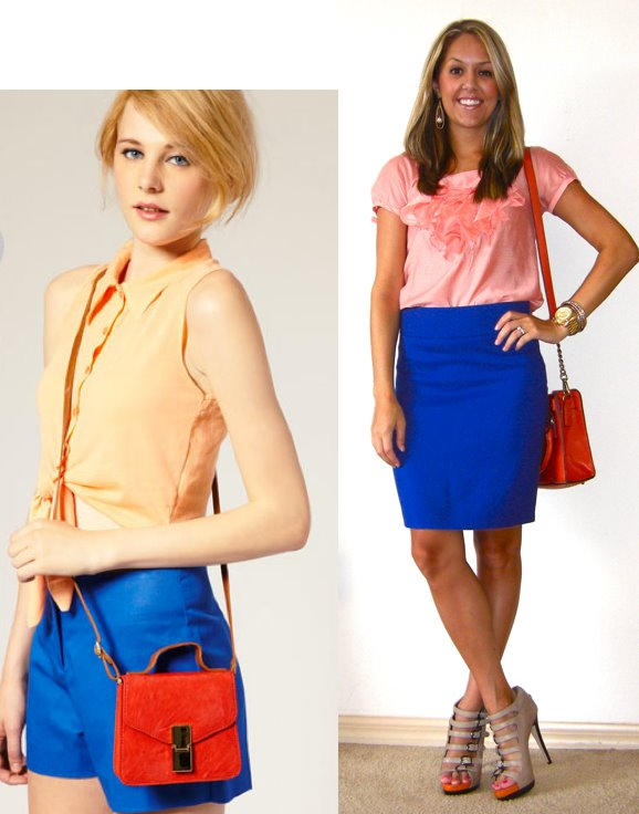 Inspiration photo: ASOS   Shirt: Limited, $16   Skirt: Limited, $38 (for 3 cobalt blue skirt options see this post:   http://www.jseverydayfashion.com/2011/08/todays-everyday-fashion-procrastinator.html  )   Shoes: Aldo, $50   Purse: c/o It's in the Bag, $62   http://tinyurl.com/6kepvzs   Watch: Michael Kors, family gift   Bracelets: Forever 21, $8   Earrings: c/o Mikel Maia