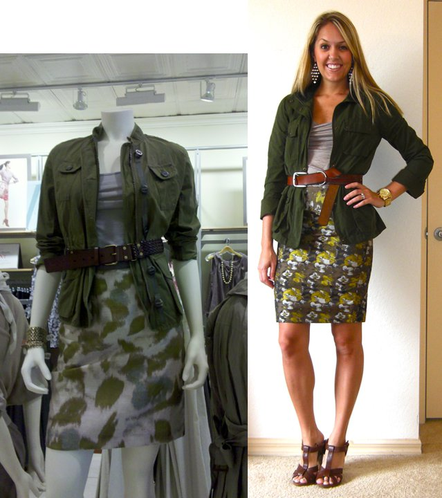 Occasion: Work   Inspiration photo: LOFT mannequin (I snapped the photo with my phone)   Jacket: Gap, $25   Shirt: Banana Republic, $18   Belt: American Eagle, $5   Skirt: Limited, $50   Shoes: H&M   Earrings: Forever 21, $8   Watch: Michael Kors, Christmas present (  http://amzn.to/p3tIQV  )