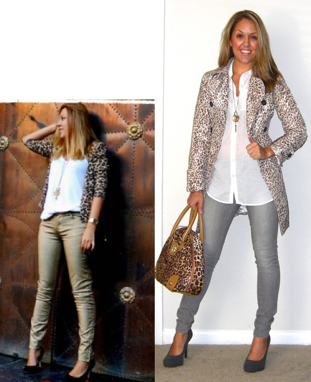 Inspiration photo: My Daily Style   Leopard trench: c/o Banana Republic   Shirt: H&M, $14   Jeans: Gap, $30   Shoes: c/o Vanity, $30   Purse: River Island, $60   Necklace: Westminster Abbey gift shop, $35