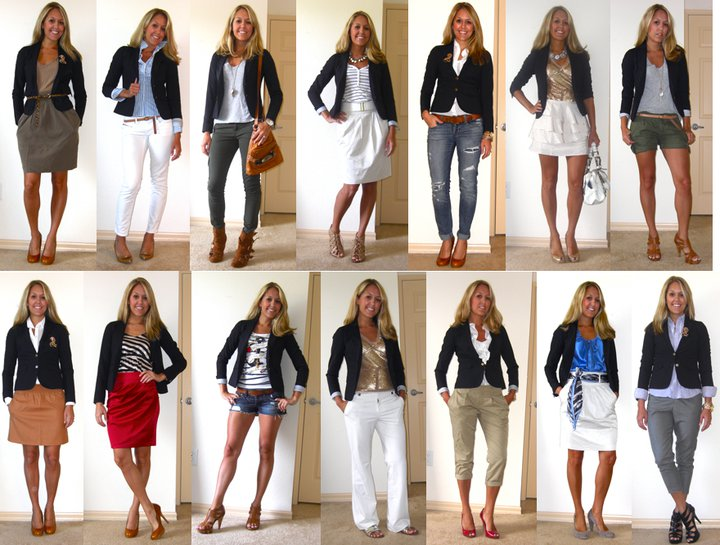 "Today's Flashback Friday features one of my favorite pieces of all time, the navy blazer, worn 14 different ways. This blazer taught me a valuable lesson that I will never forget. I spent $70 for it at the Gap three years ago because I loved the one I saw at J.Crew for $300. At the time, I had never spent more than $30 on a clothing item and the $70 price seemed outrageous. I'm   still not sure what made me ""splurge"", but I quickly learned the value of spending a little more on something that you will love and wear over and over again. A closet full of $5-10 items will never feel quite right without a few high-quality staples such as a blazer like this to pull them together!"