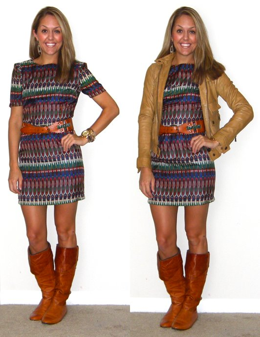 Dress: Aryn K c/o McAuley's, $86 -  http://tinyurl.com/3sddvhm   Belt: Gap, $40   Boots: Bakers, $90   Leather jacket: Banana Republic, $150   Earrings: c/o Mikel Maia