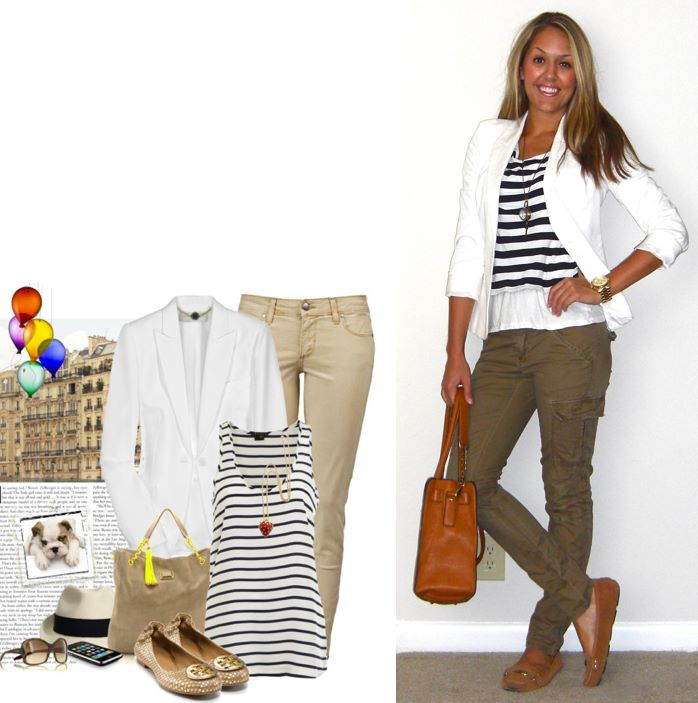 Inspiration photo: Polyvore   Blazer: Victoria's Secret c/o MJR Sales, $35 (they currently have 4 in stock -   http://www.mjrsales.com/women-1/js-picks/white-blazer.html?ref=4  )   Striped shirt: Moda c/o MJR Sales, $12   White shirt: Forever 21, $5   Pants: TJ Maxx, $17   Shoes: Michael Kors c/o Marshall's, $50   Necklace: Westminster Abbey gift shop, $35   Purse: c/o It's in the Bag, $99 (  http://tinyurl.com/3np9ypy  )   Watch: Michael Kors, family gift