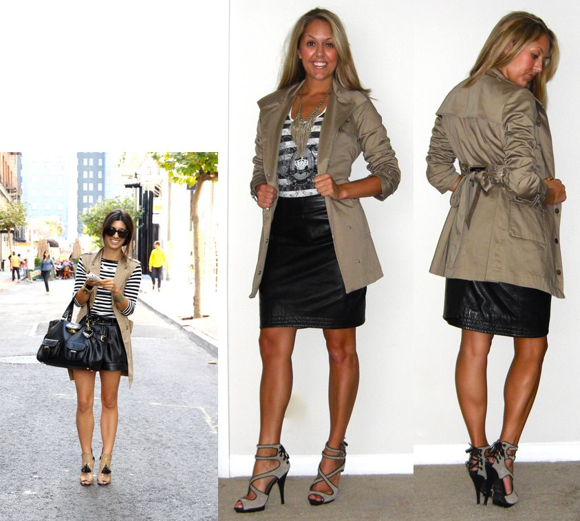 Inspiration photo: This Time Tomorrow   Trench: New York and Company, $50   Leather skirt: Handed down from a friend   Shirt: Express, really old   Necklace: Banana Republic, $13   Shoes: Colin Stuart c/o MJR Sales, $25  http://tinyurl.com/3se4n78