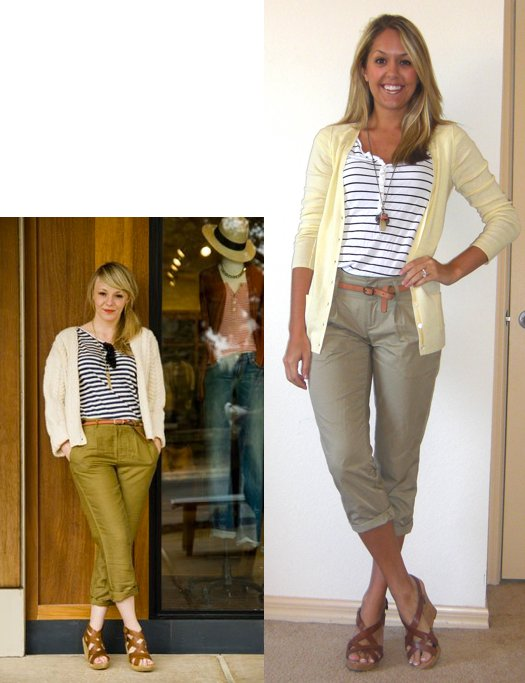 Occasion: Work   Inspiration photo:   Refinery29.com   Cardigan: Banana Republic, $14   Shirt: H&M, $15   Pants: Banana Republic, $14   Necklace: Banana Republic, $15   Belt: Gap, $10   Shoes: Guess/DSW, $20 (The DSW price before coupons was $50. The style name is WGCYDNEY, but a Google search didn't bring up anything.)