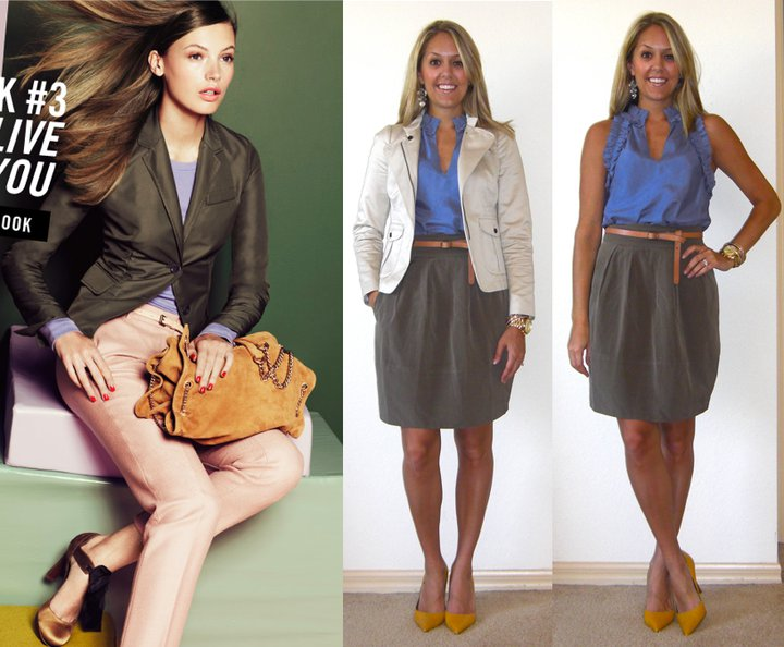 Occasion: Work   Inspiration photo: J.Crew   Jacket (left): Banana Republic, $35   Shirt: Banana Republic, $35   Belt: Gap, $10   Skirt: Banana Republic, $50   Shoes: Bandolino/TJ Maxx, $25   Earrings: Urban Outfitters, $5   Watch: Michael Kors, family gift (  http://amzn.to/p3tIQV  )   Bracelets: Forever 21, $8