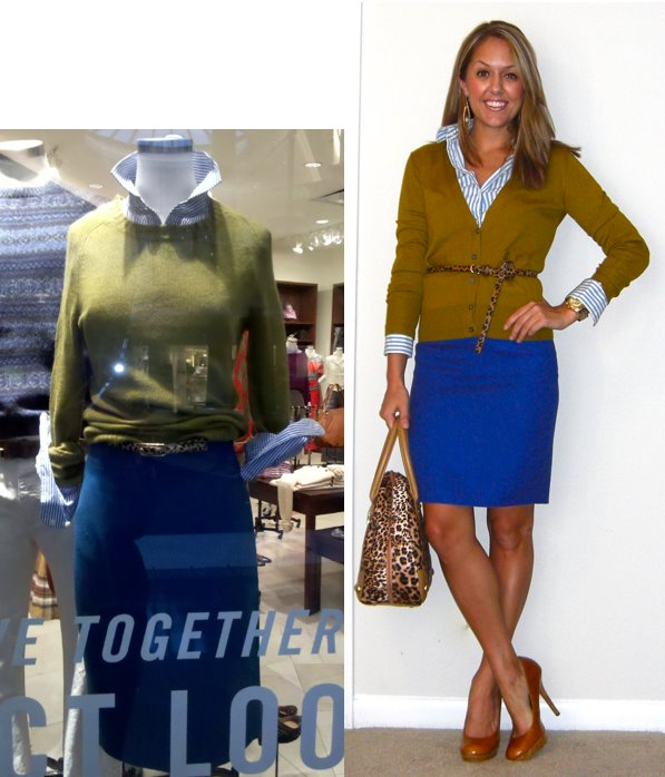 Inspiration photo: Snapped with my phone at J. Crew   Sweater: LOFT, $20   Shirt: Limited, really old   Belt: Urban Outfitters, $20   Skirt: Limited, $38   Shoes: Restricted via Endless, $40   Purse: River Island, $60 -   http://tinyurl.com/5ujjvcj   Earrings: c/o Mikel Maia   watch: Michael Kors, family gift