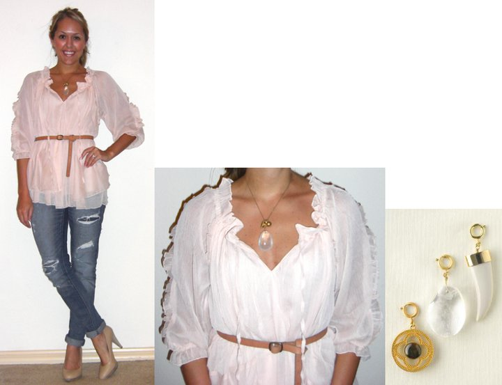 Occasion: Double-date   Shirt: TJ Maxx, $15 (recent)   Belt: Gap, $10   Jeans: American Eagle, $33   Shoes: Banana Republic, $22   Necklace: Banana Republic, $15   Charm: c/o Stella & Dot Tara Anderson, $19