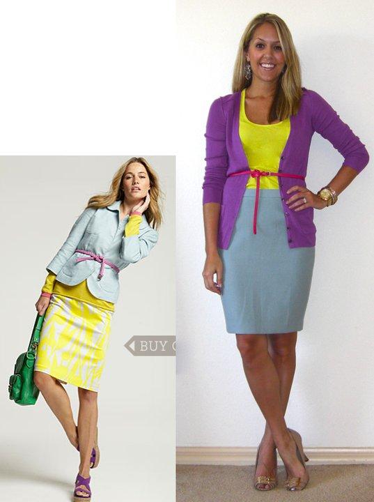 Occasion: Work   Inspiration photo: Boden USA   Cardigan: Banana Republic, $12   Shirt: Forever 21, $8   Belt: Gap, $15   Skirt: LOFT, $55   Earrings: Urban Outfitters, $5   Shoes: BCBG/Ross, $23   Watch: Michael Kors, gift (  http://amzn.to/p3tIQV  )   Bracelets: Forever 21, $8