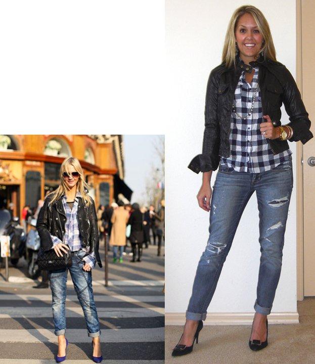 Inspiration photo: Harper's Bazaar Jacket: Forever 21, $40 Shirt: Forever 21, $18 Necklace: LOFT, $20 Jeans: American Eagle, $33 Shoes: Calvin Klein/Filene's Basement, $70 Watch: Michael Kors, watch ( http://amzn.to/p3tIQV ) Bracelets: Forever 21, $8